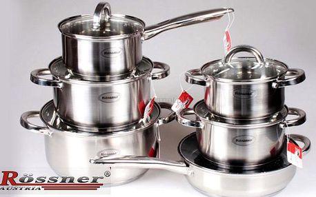 12dílné indukční nerezové nádobí včetně keramické pánve