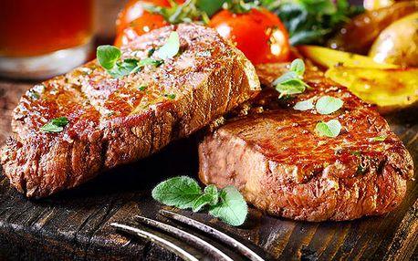 2 x 200g steak s přílohou a omáčkou dle výběru