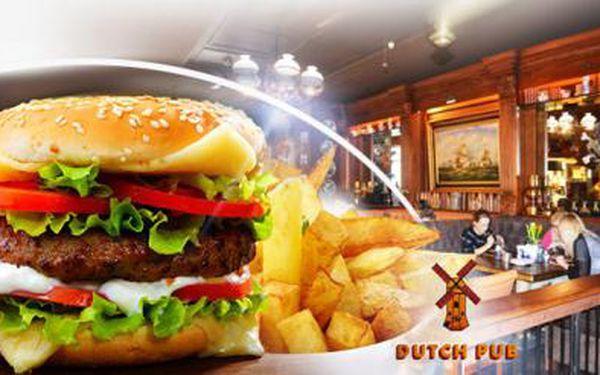2x 600g BURGER + steakové HRANOLKY a domácí tatarka v nové The Dutch Pub na Praze 1. Na výběr ze 3 druhů!