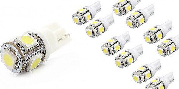 LED žárovka T10 5 x LED SMD BÍLÁ 5W bezpaticová se svítivostí 6000K - oproti klasickým LED žárovkám svítí 10x více!