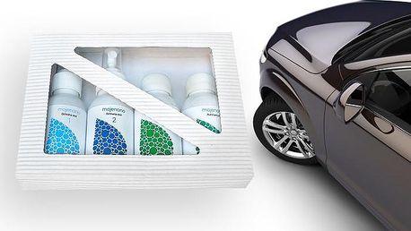 4dílné dárkové balení prostředků Mojenano na mytí, voskování a čištění skla automobilu