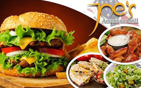 Obrovské americko-mexické MENU PRO DVA v restauraci Joe's American Grill! Vychutnejte si legendární americké burgery, pečená kuřecí křidélka s domácími omáčkami, quesadillas a domácí ledový čaj ve vyhlášené restauraci na Praze 2!