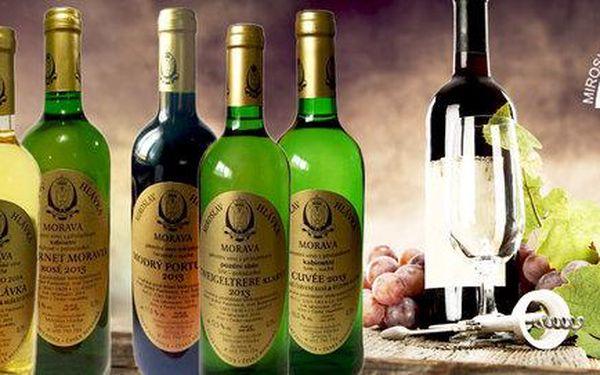 6 láhví moravských vín z Vinařství Miroslav Hlávka