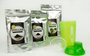 Ječmen 200g + Spirulina 200g +Chlorella 200g + Shaker