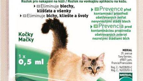 Merial Frontline Combo spot on Cat 1x 0,5 ml určen pro kočky proti napadení blechami, klíšťaty a nebo všenkami