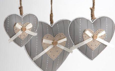 Sada 3 závěsných srdcí Heart Knot