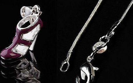 Stylový ručně malovaný přívěšek ve tvaru botičky na podpatku - postříbření ušlechtilého kovu kvalitním stříbrem!