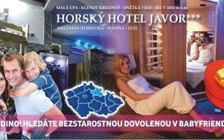 5 dní v Krkonoších s polopenzí a wellness, babyfriendly hotel + dítě zdarma
