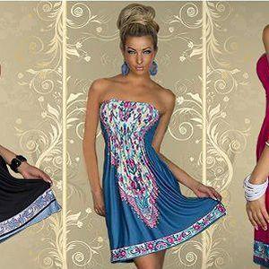 Letní šaty bez ramínek s barevným vzorem