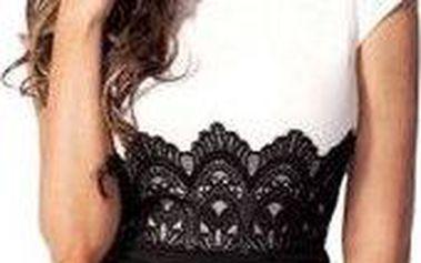 Elegantní černo-bílé šaty s krajkou