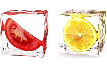 Set obrazů na skle V kostce ledu, 20x20 cm, 2 ks