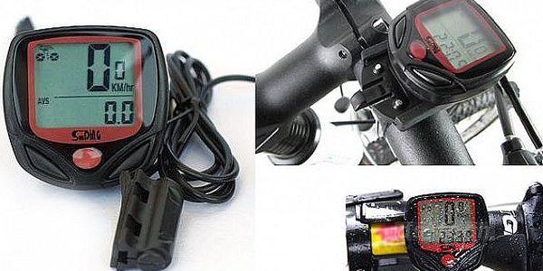 Spolehlivý tachometr na kolo s 16 funkcemi a navíc s modrým LED podsvícením, teploměrem a servisními intervaly kola.