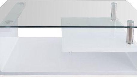 Moderní konferenční stolek GENOVA, bílá barva s vysokým leskem a čirým sklem