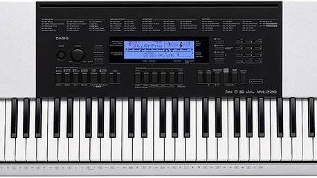 Casio WK-220 klávesy, workstation, na baterie, mikrofon, 76 kláves