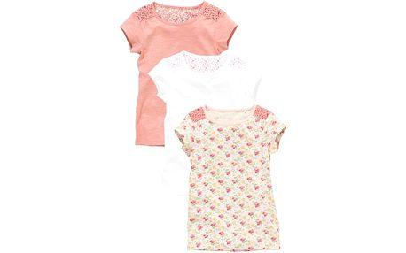Dětská sada triček - 3 kusy, růžová