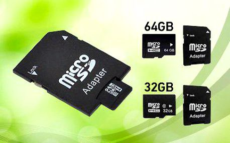 Micro SD paměťové karty s adaptérem - 32, 64 či 128 GB