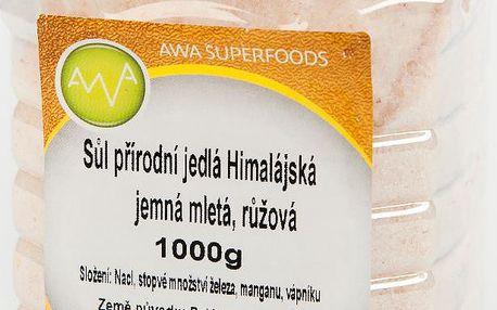 Sůl přírodní mletá jemná růžová Himalájská 1000g AWA superfoods