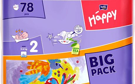 Jednorázové pleny HAPPY Mini (3-6 kg) Big Pack 78ks