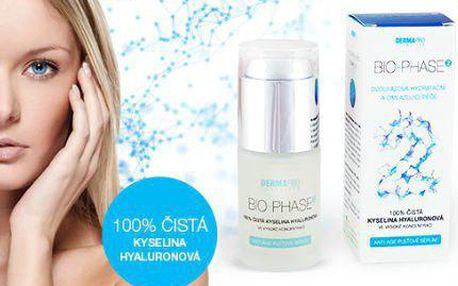 100% čistá kyselina hyaluronová, BIO-PHASE2 anti-age koncentrát, objem 30 ml!
