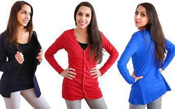 Elegantní dámský propínací svetřík s dlouhým rukávem v různých barvách