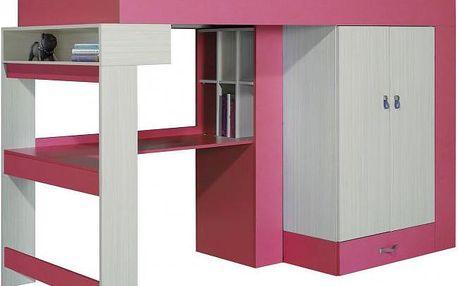 Vyvýšená postel s psacím stolem a skříní Adéla XV.