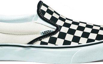 Designové skate boty Vans U Classic Slip-On Blk Whtchckerbo