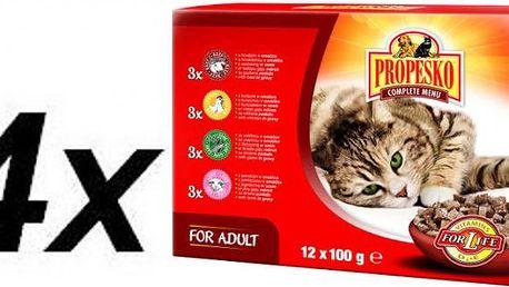 Propesko kapsa kočka kuře+hovězí+zvěřina+jehně 4 x ( 12 x 100g )