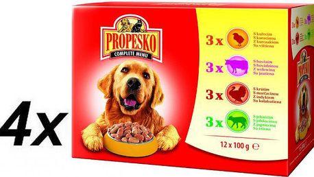 Propesko kapsa pes kuře+hovězí+krůta+jehně 4 x ( 12 x 100g )