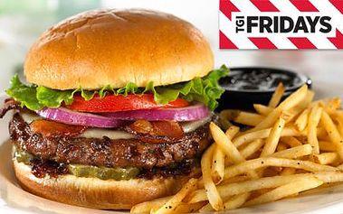 T.G.I FRIDAY'S Anděl! Sleva na VEŠKERÁ JÍDLA: hamburgery, steaky, žebírka, saláty a další speciality amerického jihozápadu se 45 % slevou! To nejlepší z americké kuchyně!