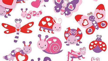 Pěnové samolepky - zamilovaní broučci a motýli