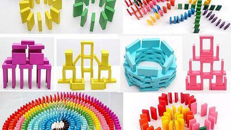 100 ks barevných dřevěných kostiček pro děti