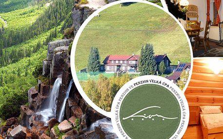 Pobyt na 4 dny pro 2 osoby v penzionu Lion v Krkonoších s polopenzí, kulečníkem, sportovním vyžitím.