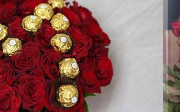 Krásná kytice červených růží a Ferrero Rocher! Možnost osobního vyzvednutí nebo rozvoz po Praze!!