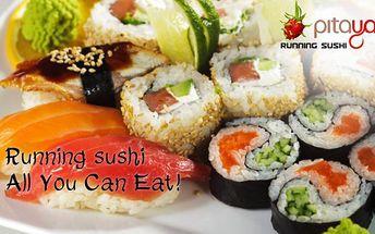 Running sushi + NÁPOJ dle výběru ZDARMA! Neomezená konzumace sushi! Ochutnejte prvotřídní sushi i další asijské speciality neustále doplňované na pás v nově otevřené restauraci Pitaya! Sushi sněz, co sníš, za fantastickou cenu kousek od metra Kačerov!!