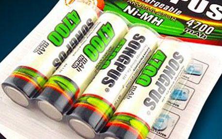 Nabíjecí tužkové baterie AA o kapacitě 4700 mAh: Výhodné balení 4 kusů!