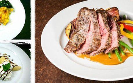 3 chodové menu pro 2 osoby: hovězí líčka, Argentinský flank steak s grilovanou zeleninou a palačinka