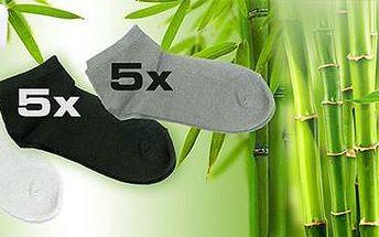 15 párů bavlněných kotníkových ponožek s příměsí bambusového vlákna.