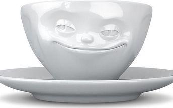 Usměvavý hrníček na espresso, bílý