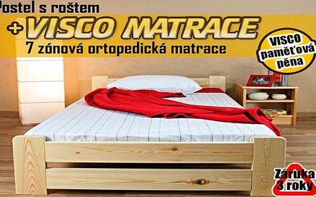 Postelový komplet VERONA z masívu včetně matrace a roštu, osobní odběr v Praze zdarma