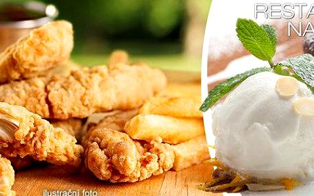 Kuřecí stripsy, hranolky a muffinek pro dva