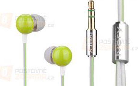 Sluchátka pecky do uší 3,5 mm - zelená a poštovné ZDARMA! - 9999921240