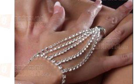 Náramek s prstýnkem v jednom s broušenými kamínky a poštovné ZDARMA! - 9999921260