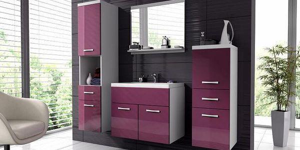 AKCE - Koupelnový nábytek Horace 1 - bílá / fialový lesk