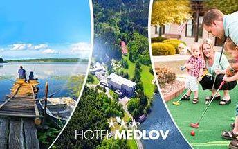 VYSOČINA! Letní pobyt pro 1 os. až na 6 dní ve 3* hotelu u jezera Medlov vč. POLOPENZE, MINIGOLFU a dalších!