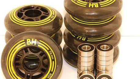 Kompletní sada inline koleček (8 ks) s kvalitními ložisky ABEC 9, vel. 72 nebo 76 mm!