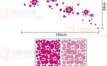 Růžová samolepka s motivem květin a motýlků a poštovné ZDARMA! - 9999921544