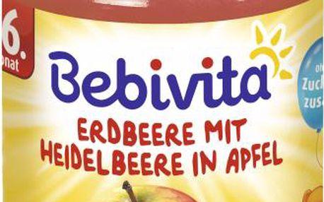 BEBIVITA Jablka s jahodami a borůvkami (190g) - ovocný příkrm
