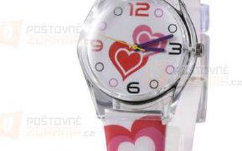 Dívčí krásné hodinky s motivem srdíček - bílé a poštovné ZDARMA! - 9999921652