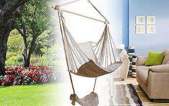 Závěsné barevné houpací křeslo s podnožkou na zahradu nebo do bytu