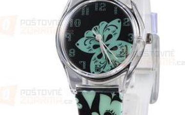 Dívčí hodinky s motýlem - černozelené a poštovné ZDARMA! - 9999921675